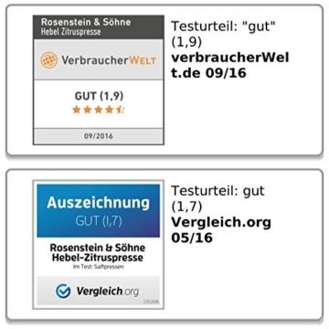 Rosenstein & Söhne Professionelle Hebel-Zitruspresse PREMIUM. Hammerschlag lackiert, XL